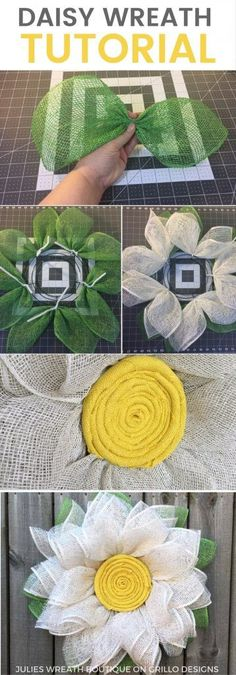 Burlap Daisy Wreath Tutorial - Learn how to make this one of a kind daisy wreath for your front door this spring! Ideas to decorate your front door or home using various wreaths.Burlap Daisy Wreath Tutorial - I would love to do this as a sunflower wr Burlap Crafts, Wreath Crafts, Diy Wreath, Wreath Ideas, Wreath Making, Wreath Burlap, Deco Mesh Wreath Tutorial, Fabric Wreath Tutorial, Burlap Bows