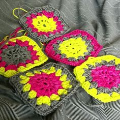 Neon granny squares project- like the color scheme on these