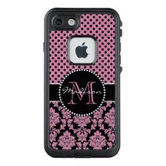 Pink glitter & black damask Pink Black Dots Name LifeProof FRĒ iPhone 7 Case - cyo customize create your own #personalize diy