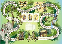 Family therapy board game that utilizes the metaphor of a jungle environment and an expedition on the game board to illustrate the difficulties involved in keeping a family together AND engaged with one another.