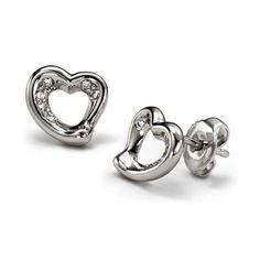 Tiffany Elsa Peretti Heart Diamond Earrings