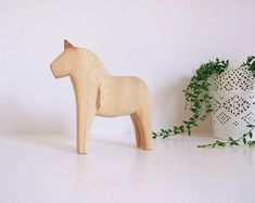 Caballo sueco Dalarna tallado a mano// Dala horse