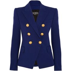 Balmain Double-breasted stretch cotton-blend blazer (€1.165) ❤ liked on Polyvore featuring outerwear, jackets, blazers, blazer, balmain, coats, blue, blue double breasted jacket, blue double breasted blazer and tailored blazer