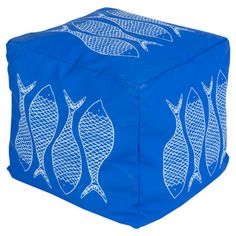 Showcasing a charming fish motif, this cobalt-hued indoor/outdoor pouf brings coastal-chic style to your poolside or child's playroom.