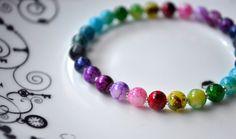 Beaded Rainbow Bracelet - Gorgeous Rainbow Opaque Glass Bead ElasticStretch Bracelet by Craftilicious Cats on Etsy