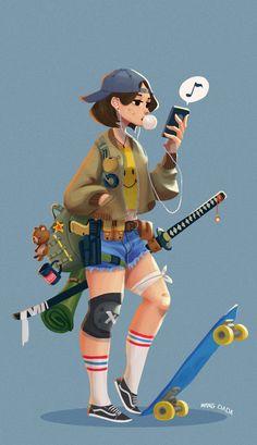ArtStation - skater girl, wang dada We like Bikes To Boards! Cartoon Art Styles, Cartoon Drawings, Cute Drawings, Art Patin, Tomboy Drawing, Tomboy Art, Art Mignon, Skate Girl, Skate Style Girl