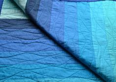 Blue ombre toddler bed quilt.  Strip quilt. by PotatoBlossomStudio, $140.00