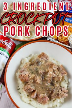 These 3 Ingredient Crock Pot Pork Chops will be a weekly meal in your house once you try them! First of all they're SO EASY!!! Second – they're delicious! Third – there's only THREE INGREDIENTS!!! It took longer to get the crock pot out of the cupboard then it did to make them! #ad #WisconsinPork #USApork   Recipes Using Pork Chops, Pork Recipes For Dinner, Pork Chop Recipes, Crock Pot Pork Chops, Boneless Pork Chops, Simple Meals, Easy Family Meals, Easy Recipes, Cooking Recipes