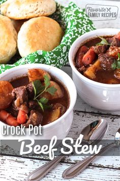 Crock Pot Beef Stew is the ultimate comfort food. Tender chunks of beef with potatoes and carrots in a thick hearty gravy makes for a nourishing meal any time of year! Slow Cooker Recipes, Crockpot Recipes, Cooking Recipes, Steak Recipes, Turkey Recipes, Fish Recipes, Chili Recipes, Soup Recipes, Incredible Recipes