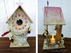 #altered #birdhouse by Hermine Koster using #stencils and Viva Las VegaStamps! #rubber #stamps