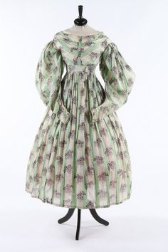 cotton and muslin day dress, 1835 - Live Auctioneers Auction