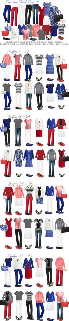 Red, White & Blue capsule wardrobe by kristin727 on Polyvore featuring DL1961 Premium Denim, Kate Spade, Diane Von Furstenberg, Gap, J Brand, Miss Selfridge, Nine West, J.Crew, Lands' End and Coach