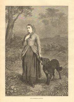 Dog, Wavy Coated Retriever, The Gamekeeper's Daughter, 1876 Antique Art Print. Curly Coated Retriever, Labradors, Dog Boarding, Dog Show, Antique Art, Old Photos, Labrador Retriever, Old Things, Daughter