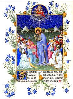 Les Très riches heures Berry La multiplication des pains C'est l'une des miniatures les plus achevées de ce livre d'heures. Noter la référence à la Trinité (Père, Fils, St Esprit) avec lien entre l'eucharistie sans doute 168v