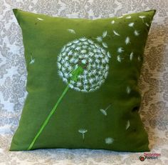 Pillow Cover 18x18/Hand-painted/ Nature/Indoor/Outdoor/Pillows/Seasonal Decorations/Spring Decorations/ Patio/ Garden/Spring/dandelion/green