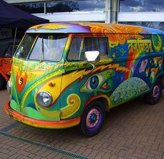 Hippie Kombi, painted car. ♠ re-pinned by http://www.wfpblogs.com/category/toms-blog/