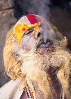 Sadhu Smoking a Chillum Pashupatinath Kathmandu Nepal 2011