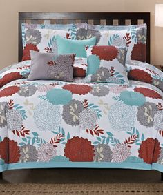Another great find on #zulily! Light Blue & Red Cotton Sarasota Comforter Set #zulilyfinds
