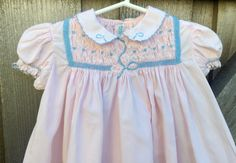 50s Smocked Dress 6/9 Months by lishyloo on Etsy