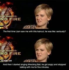 WowGags! What Jennifer Lawrence Did When Liam Commented on her Haircut!