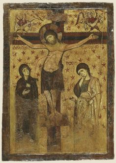 The Crucifixion. 9th-13th century from Thebes (Thiva), Greece. Byzantine Museum, Athens, Greece.