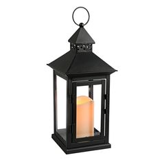 Black LED Square Lantern with Timer 6x15-in