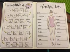 Weight loss tracker and inches lost trackers. Bullet journal stickers, layouts, tips, and more! PlanetPlanIt # tips for weight lose Bullet Journal Agenda, Bullet Journal Tracker, Bullet Journal Inspo, Bullet Journal Workout, Journal Layout, Journal Pages, Planner Journal, Bullet Journal Collections, Bullet Journel