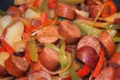 Golden Corral Restaurant Copycat Recipes: Smoked Sausage and Peppers Sausage Recipes, Pork Recipes, Cooking Recipes, Copycat Recipes, Recipies, Sausage Meals, Skillet Recipes, I Love Food, Good Food