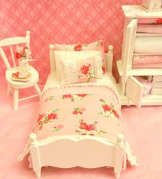 Miniature Bed with Cottage Style Pink and Red by RibbonwoodCottage