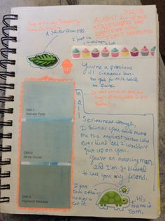 Miscellaneous page. Stickers, ball point pen, a paint chip, and washi tape.