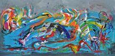 Go  with the flow, schilderij van Kunstenares Mir, Mirthe Kolkman van der Klip | Abstract | Modern | Kunst Flow, Van, Abstract, Modern, Painting, Art, Vans, Painting Art, Paintings