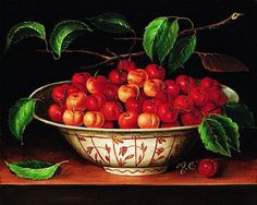 Bowl of cherries painting