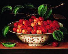 Bowl of cherries painting