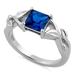 Sterling Silver Leaves Vines Princess Cut Blue Spinel CZ Ring