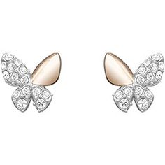 Swarovski Better Butterfly Pierced Earrings.  Sweet and feminine, this playful pair of pierced earrings features clear crystal pave© combined with rose gold and rhodium plating. Complete the look with the matching necklace.