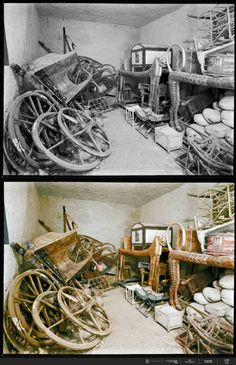 Numerous chariots are stacked up against the wall. 21 Colorized Photos from the Discovery of King Tut Ancient Egypt History, Ancient Aliens, Ancient Greece, Egyptian Symbols, Ancient Egyptian Art, Ancient Mysteries, Ancient Artifacts, King Tut Tomb, Old Egypt