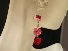Pink and red crystal heart dangle earrings by KylesStyles on Etsy