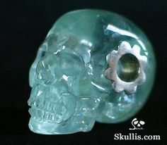 Aquamarine Crystal Skull Bead