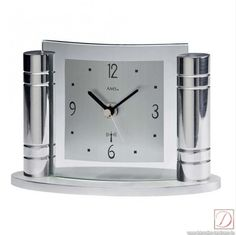 Desktop analog AMS clock made of silver metal and mineral glass ...