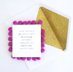 Our custom Pom Pom invitations are unique and will delight even your pickiest of guests. Pom pom trim is available in many colors. Prices are quoted based on qu Wedding Photographie, Marie's Wedding, A Little Party, Throw A Party, Party Entertainment, Invitation Design, Holiday Parties, Note Cards, Decoration