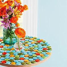 Bottle cap tabletop.. very different and so pretty