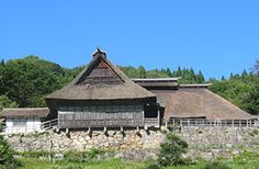 The Chiba Family Residence, a typical magariya farmhouse, built on a wall of stones on the hill. Today only two such farmhouses remain. Tono in Iwate Prefecture, northeastern Japan, is famous as the home of many folktales, and old legends.