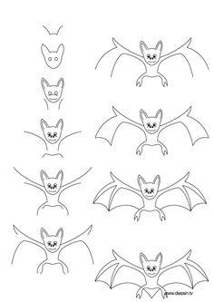 Draw a bat - step by step