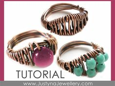 Beaded Ring Tutorial Wirework Ring Tutorial by JustynaJewellery Wire Wrapped Jewelry, Wire Jewelry, Jewelry Crafts, Jewelry Rings, Handmade Jewelry, Jewellery, Wire Rings Tutorial, Ring Tutorial, Tutorial Anillo