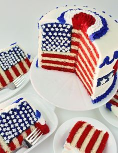 Be the star of your 4th of July party. Flag Cake with In Depth Tutorial - shows you how to layer, how to get in that blue area and how to cut the cake after you've finished.