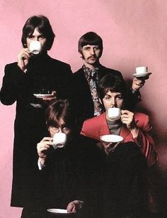 """Beatles with cups...This says:  Tea Time """"in life there are few more pleasant time hours dedicated to afternoon tea ceremony."""" Henry James, the portrait of a lady, 1881"""