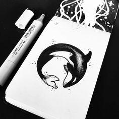 WEBSTA @ sollefe - Buenos días ✨🐋 Orca disponible para tatuaje ! Interesados…