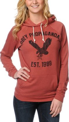 OBEY Obey Screaming Eagle Tour Heather Red Pullover Hoodie $76.95 $29.96