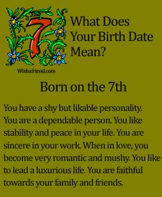 Birth Date Correspondences: Born on the 7th | #birthcorrespondences #bornonthe7th