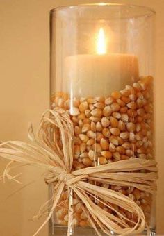 Popcorn + Candle = Easy and Cheap Thanksgiving Centerpiece